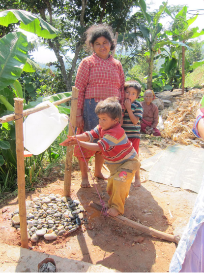 A Tippy Tap we constructed to allow for easy handwashing where there's no running water.